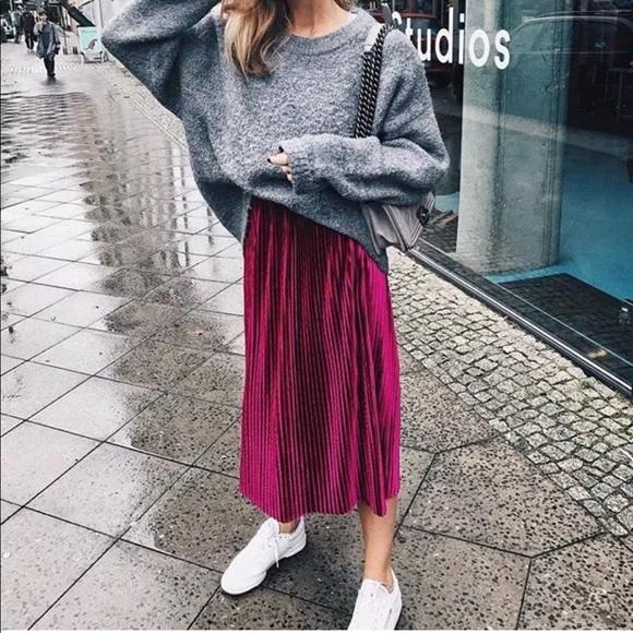 b8ee6f1ad7 Zara Skirts | Fuchsia Pink Velvet Pleated Midi Skirt | Poshmark